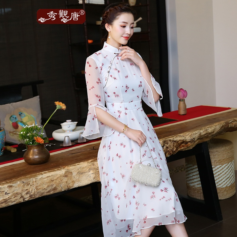 Pretty Bell Sleeve Chiffon Cheongsam Qipao A-line Dress