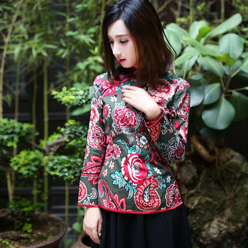 Engaging Print Frog Button Qipao Cheongsam Shirt