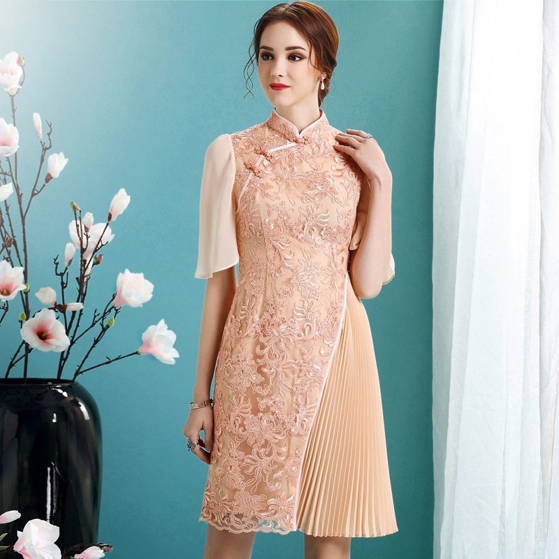 Lovable Modern Chinese Qipao Cheongsam Dress - Orange