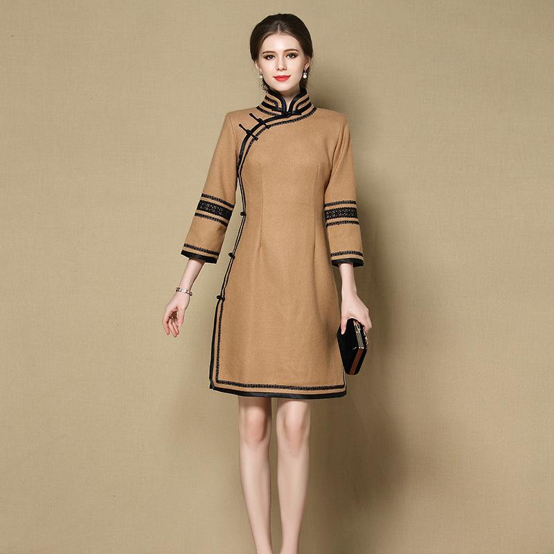 Impressive Woolen Qipao Chinese Dress Cheongsam - Brown