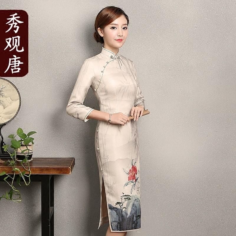 Charming Bamboos Mid-calf Cheongsam Chinese Dress Qipao
