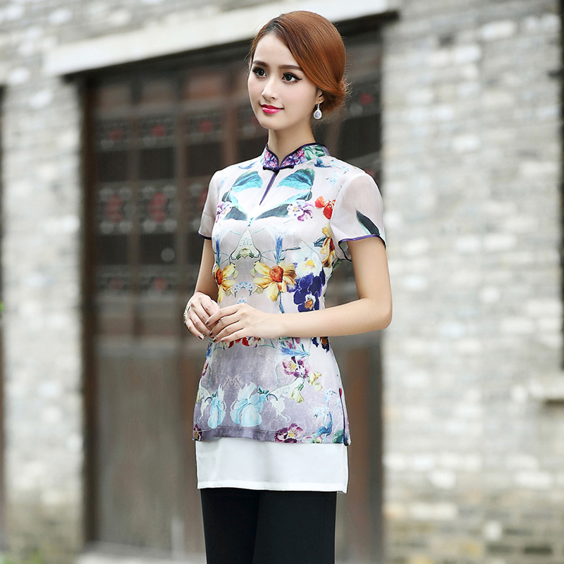 Amazing Floral Print Two Layers Cheongsam Qipao Blouse