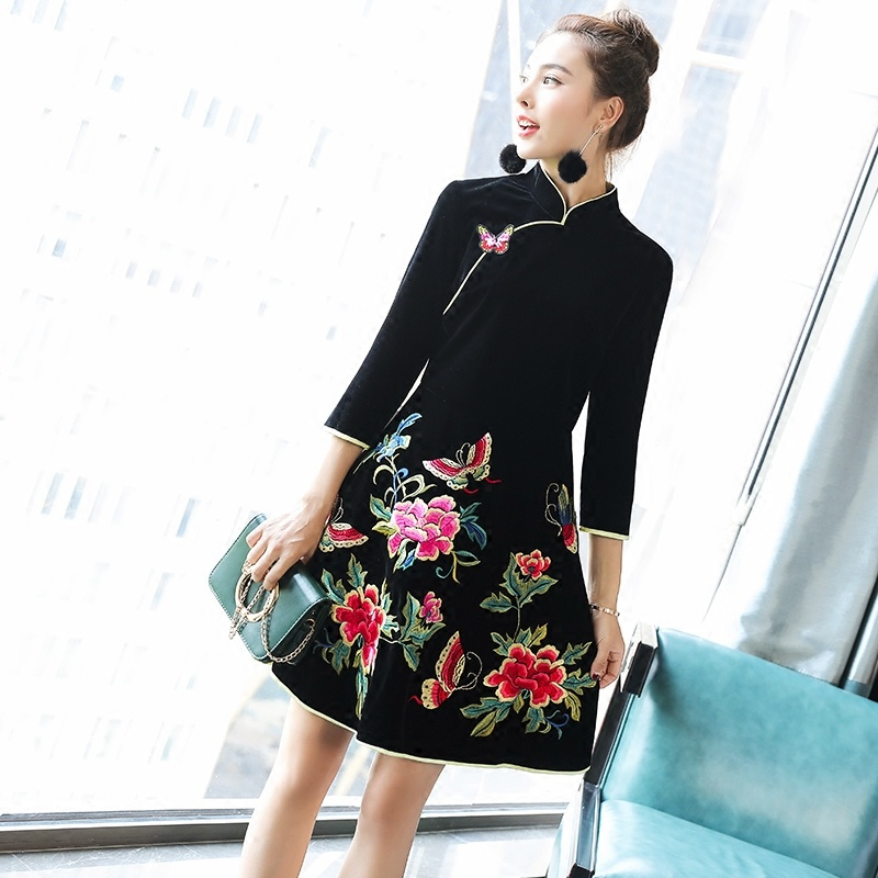 Pretty Butterfly Embroidery A-line Dress Qipao Cheongsam
