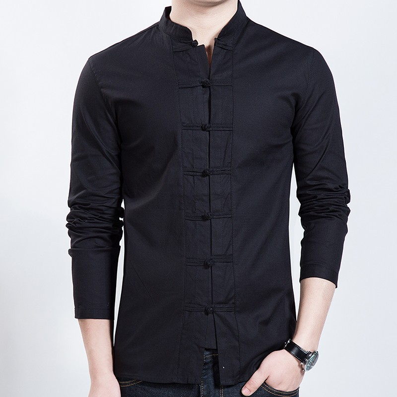 Seven Frog Buttons Stand-up Collar Shirt - Black