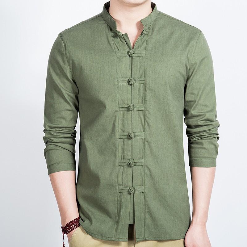 Seven Frog Buttons Stand-up Collar Shirt - Green