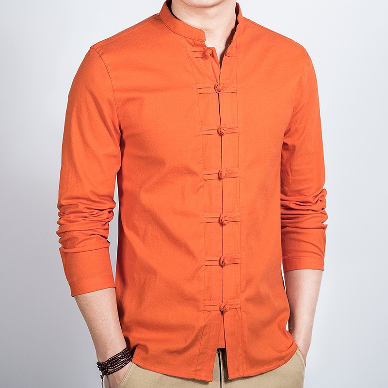 Seven Frog Buttons Stand-up Collar Shirt - Orange