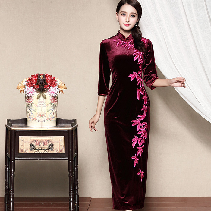 Magnificent Embroidery Dress Qipao Cheongsam - Claret