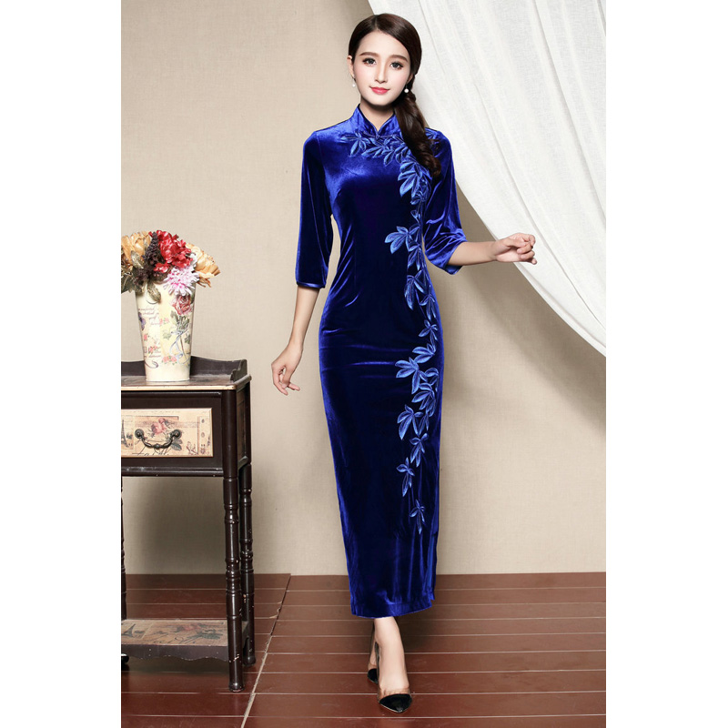 Magnificent Embroidery Dress Qipao Cheongsam - Blue