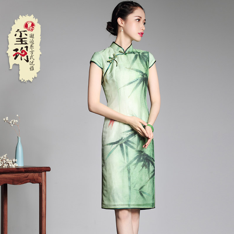 Charming Bamboo Knee Length Cheongsam Qipao Dress