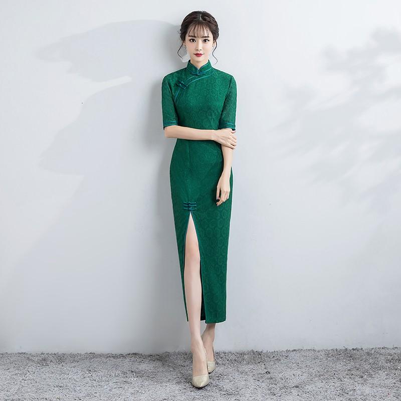 Sweet Green Lace Chinese Dress Qipao Cheongsam