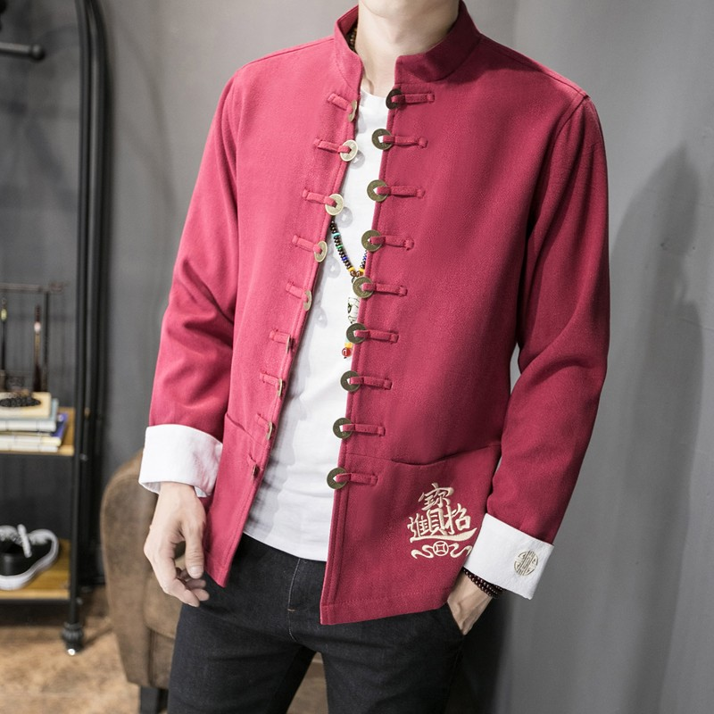 Awesome Embroidery Open Button Chinese Jacket - Red