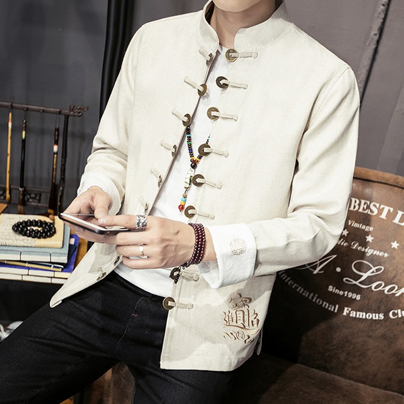 Awesome Embroidery Open Button Chinese Jacket - White