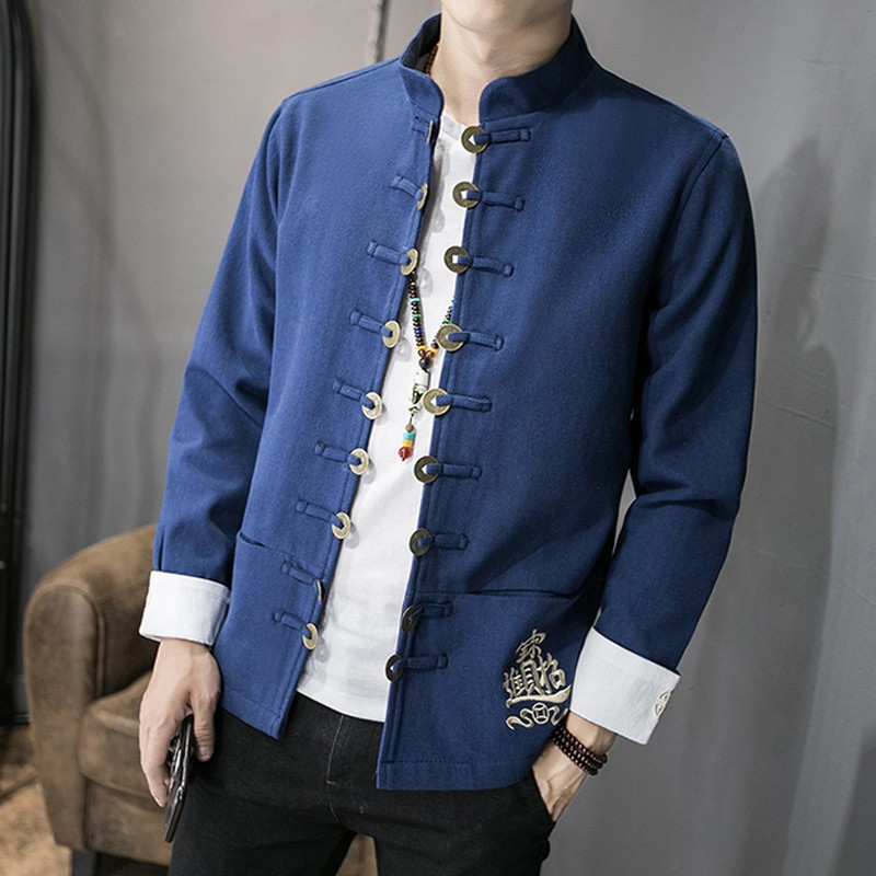 Awesome Embroidery Open Button Chinese Jacket - Blue
