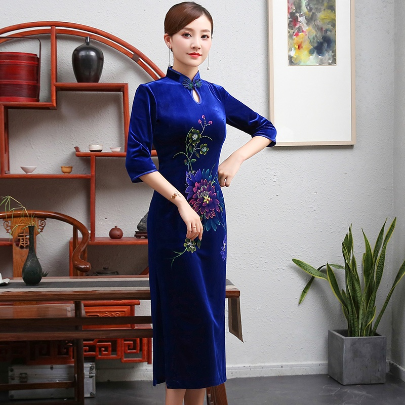 Pretty Floral Drawing Velvet Cheongsam Qipao - Blue