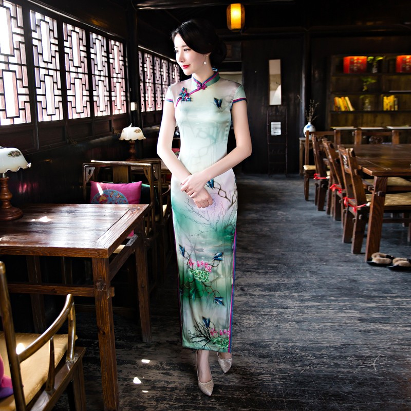 Engaging Floral Print Silk Qipao Cheongsam Chinese Dress