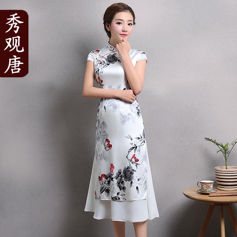 Elegant Floral Print Two-layer Qipao Cheongsam Dress