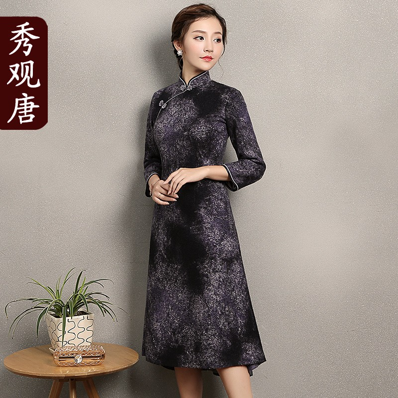 Attractive Woolen Qipao Cheongsam Chinese A-line Dress