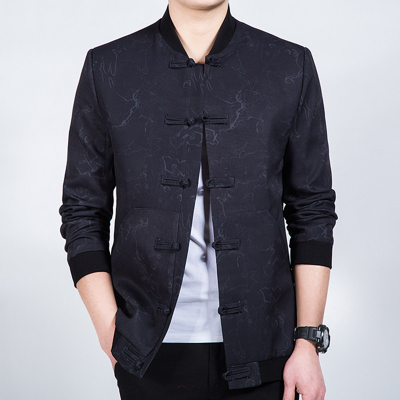 Pretty Modern Frog Button Chinese Tang Jacket - Black