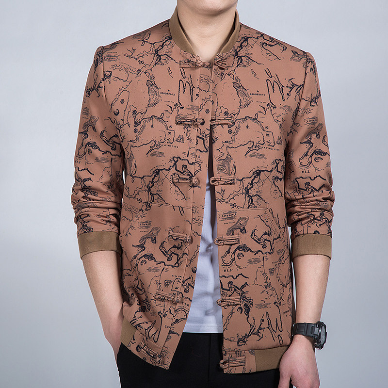 Pretty Modern Frog Button Chinese Tang Jacket - Brown