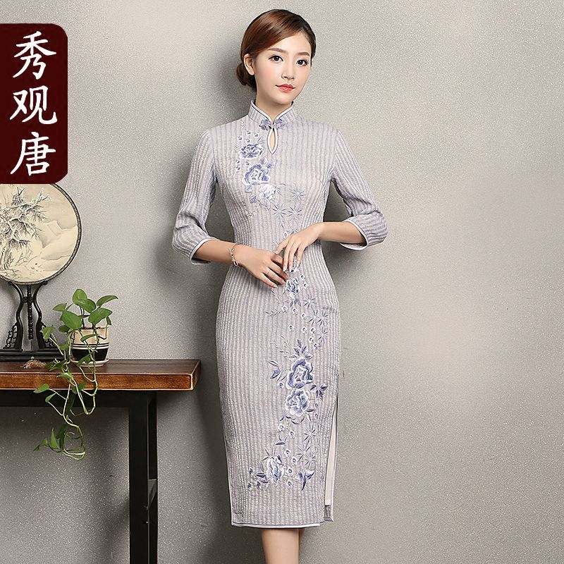 Wonderful Embroidery Mid-calf Cheongsam Qipao Dress