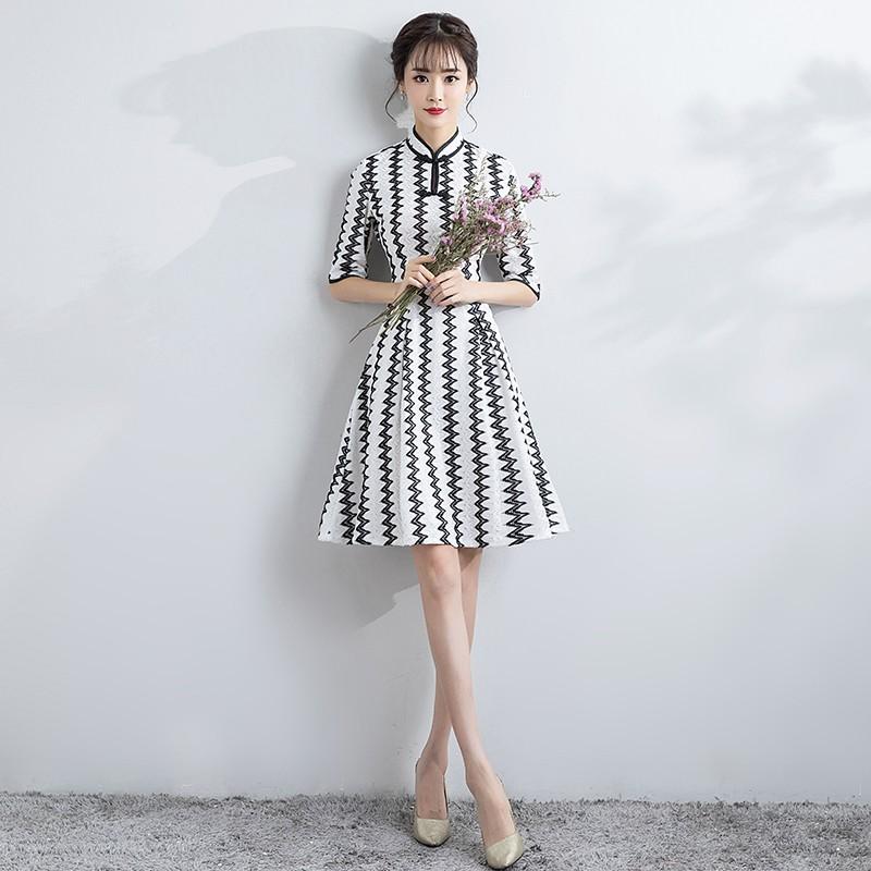 Charming Striped Lace Chinese Dress Cheongsam Qipao