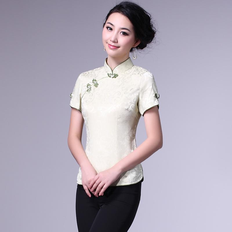 Short Sleeve Modern Mandarin Qipao Shirt - Green