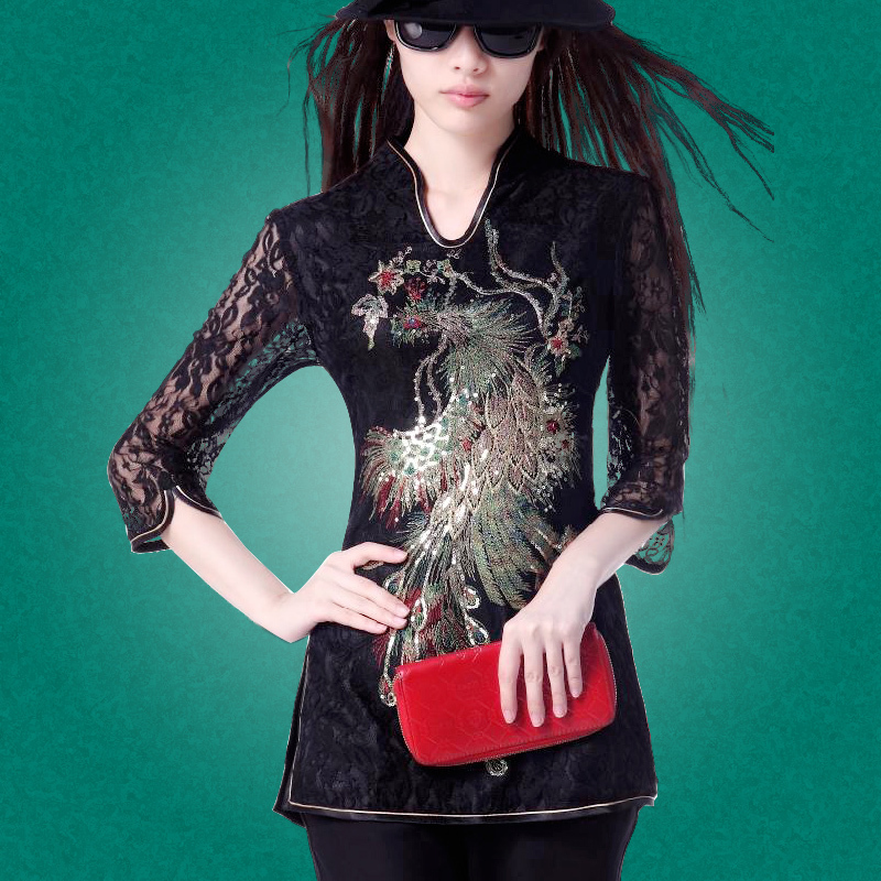 Great Phoenix Embroidery Lace Blouse - Black