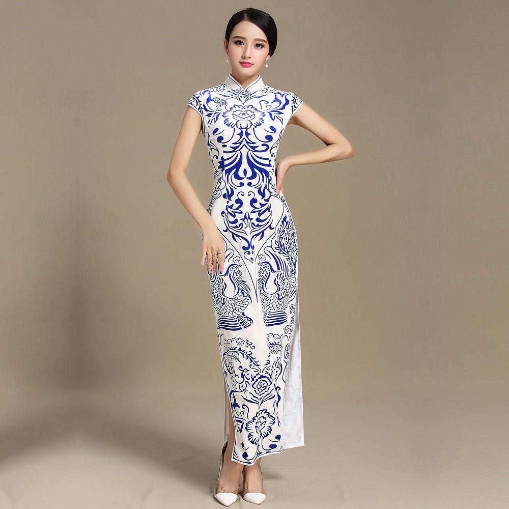 Fabulous Totem Print Velvet Cheongsam Qipao Chinese Dress