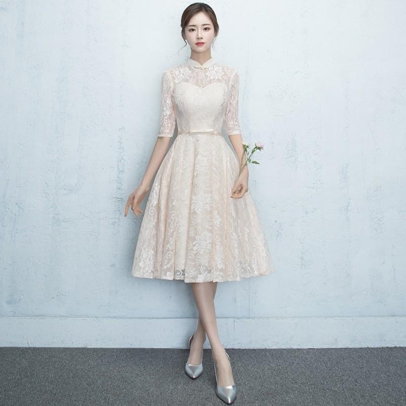 Charming Lace A-line Dress Qipao Cheongsam - Beige