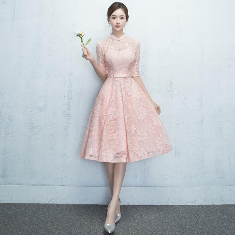 Charming Lace A-line Dress Qipao Cheongsam - Pink