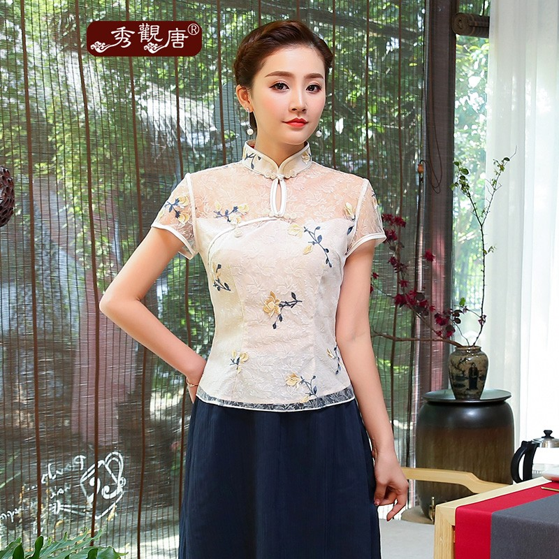 Sweet Embroidery Lace Short Cheongsam Qipao Shirt