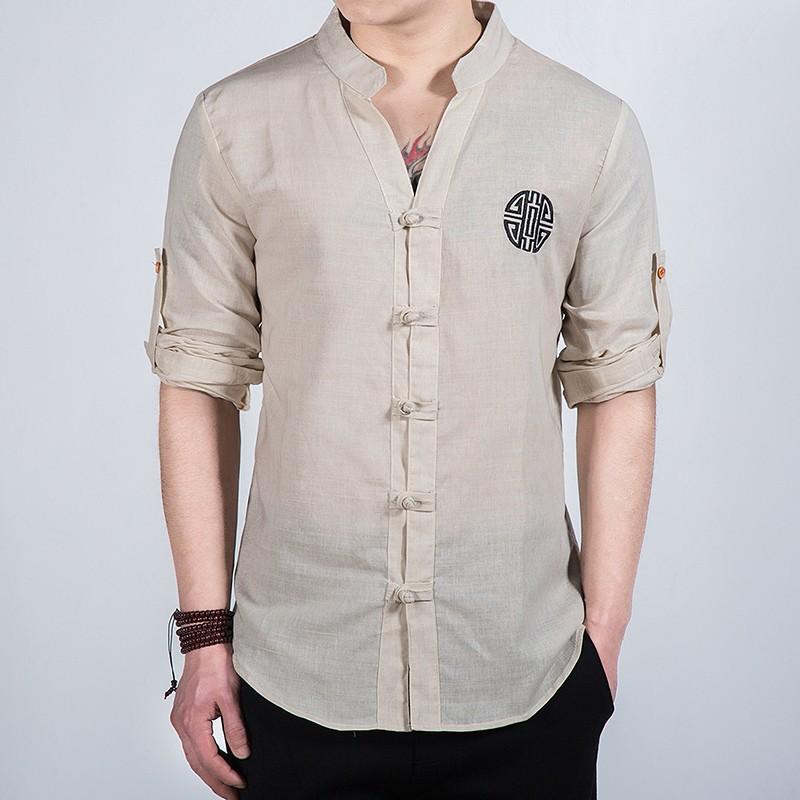 Nice Embroidery Frog Button Mandarin Shirt - Beige