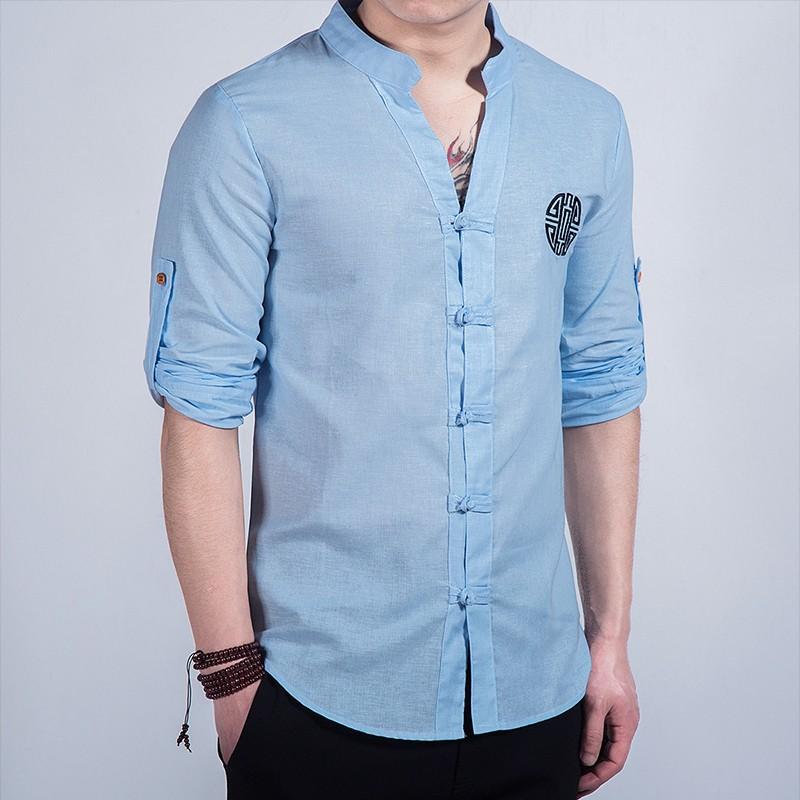 Nice Embroidery Frog Button Mandarin Shirt - Light Blue