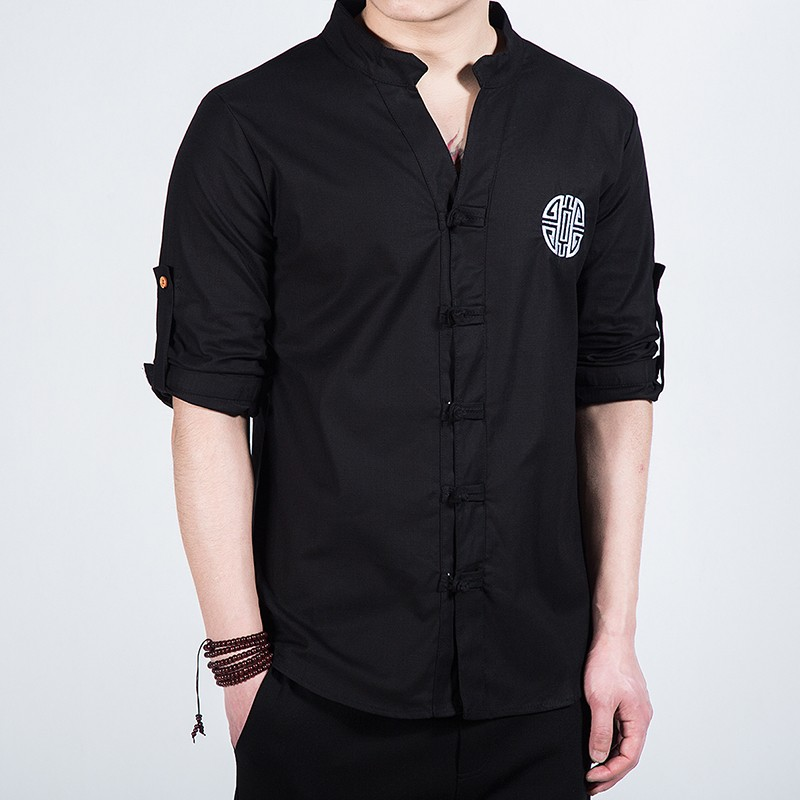 Nice Embroidery Frog Button Mandarin Shirt - Black