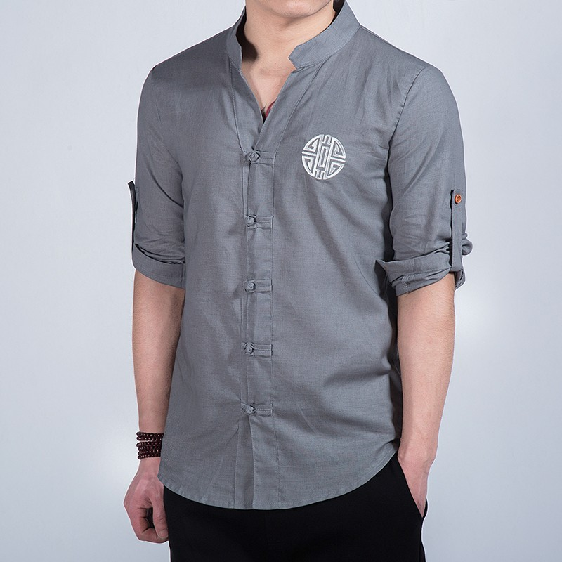 Nice Embroidery Frog Button Mandarin Shirt - Gray