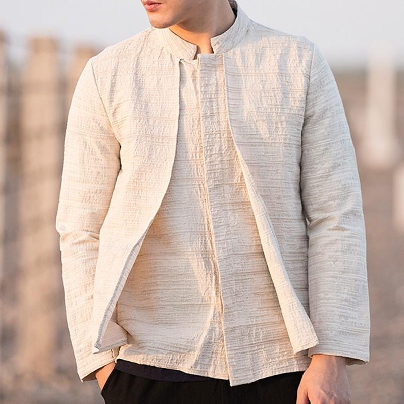 Modern Stand-up Collar Linen Mandarin Shirt - Beige