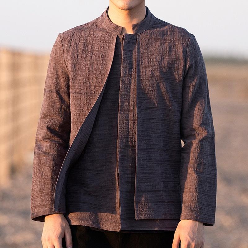 Modern Stand-up Collar Linen Mandarin Shirt - Brown