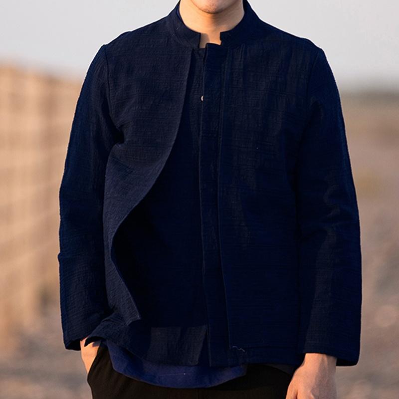 Modern Stand-up Collar Linen Mandarin Shirt - Dark Blue