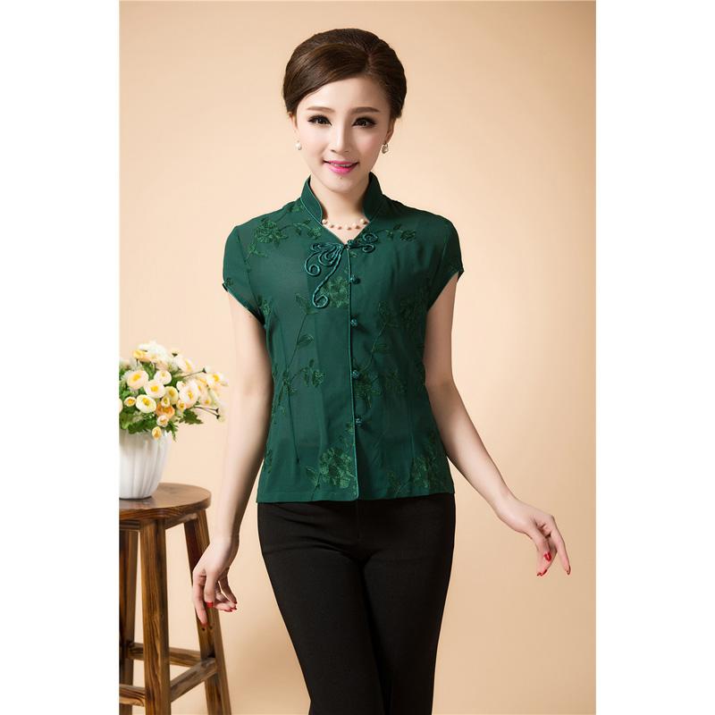 Open Neck Oriental Style Short Shirt - Black Green