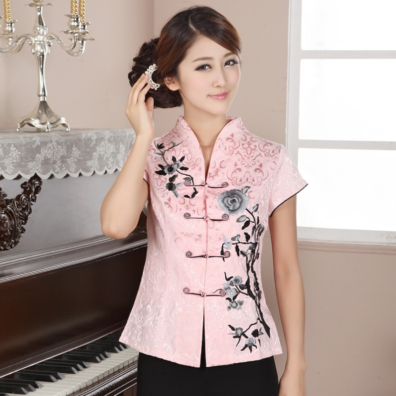 Attractive Open Neck Oriental Style Pink Shirt