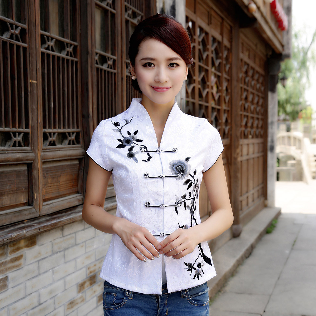 Attractive Open Neck Oriental Style White Shirt Chinese