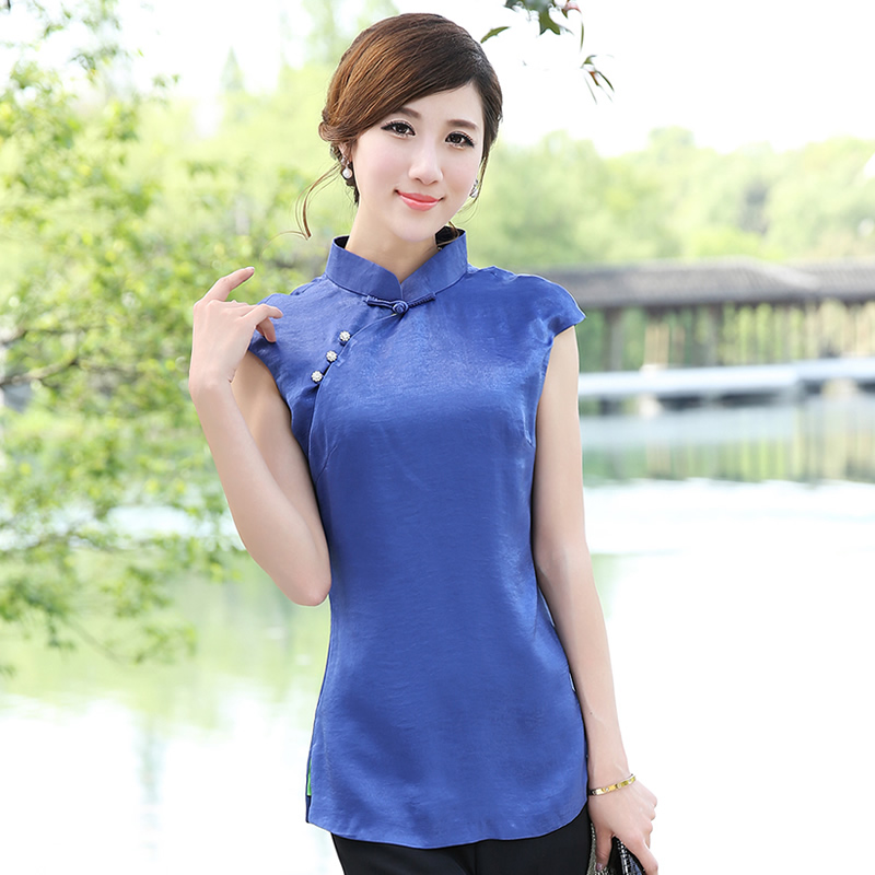 elegant modern mandarin qipao style shirt blue chinese