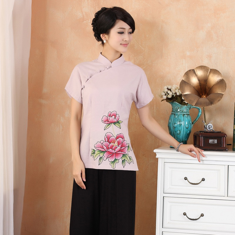 Enchanting Peony Flowers Cheongsam Qipao Shirt - Pink