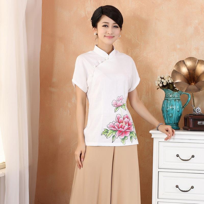 Enchanting Peony Flowers Cheongsam Qipao Shirt - White