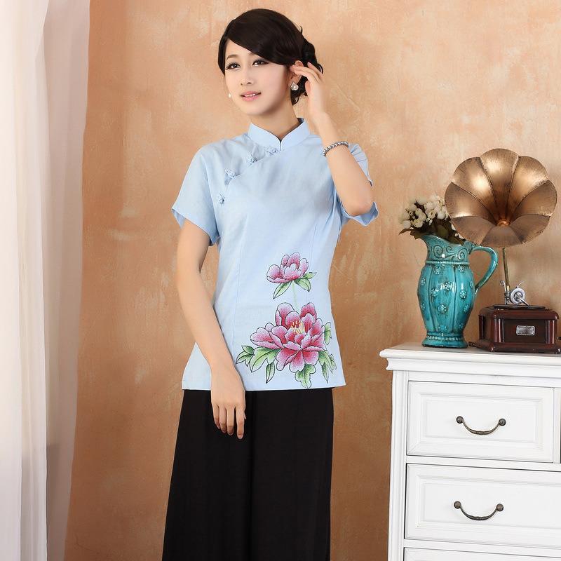 Enchanting Peony Flowers Cheongsam Qipao Shirt - Blue