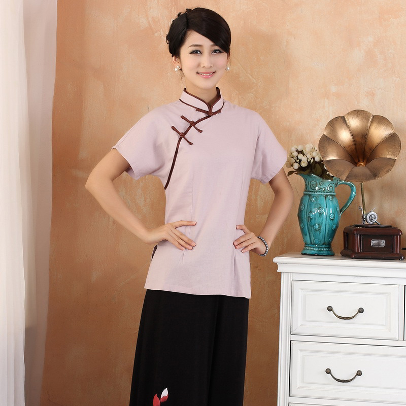 Elegant Short Sleeve Flax Cheongsam Qipao Shirt - Pink
