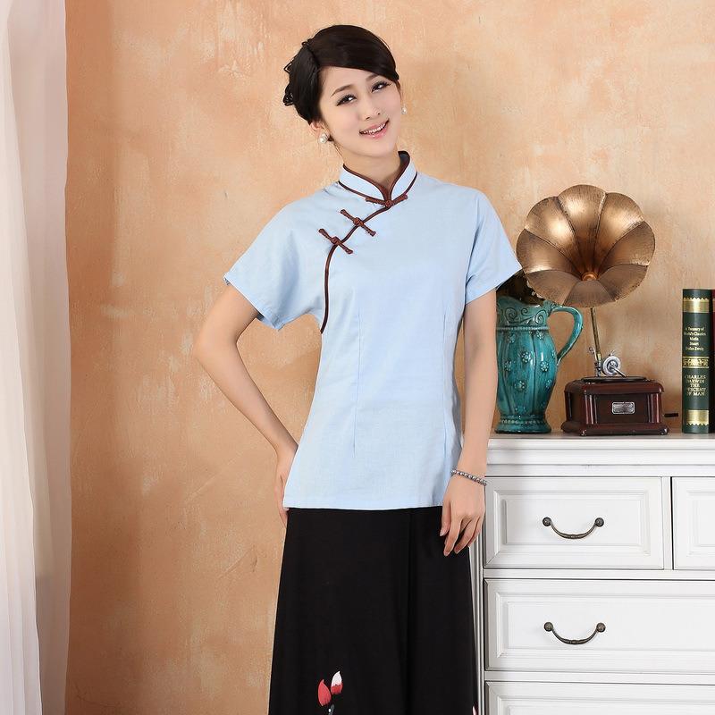 Elegant Short Sleeve Flax Cheongsam Qipao Shirt - Blue
