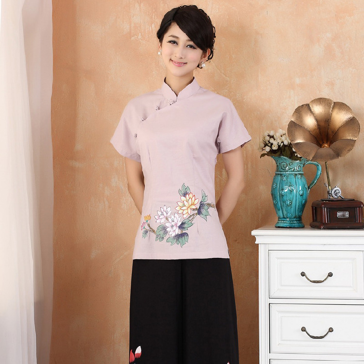 Lovely Lotus Short Sleeve Qipao Cheongsam Shirt - Pink
