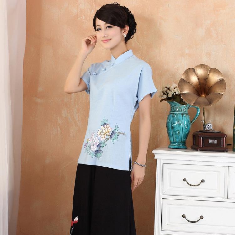 Lovely Lotus Short Sleeve Qipao Cheongsam Shirt - Blue