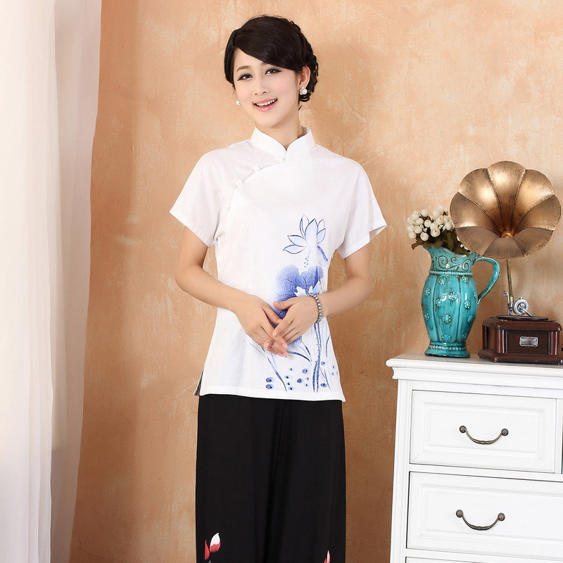 Delightful Lotus Flower Qipao Cheongsam Shirt - White